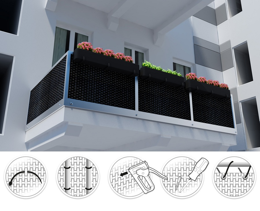 jardiniere ratan artificial pentru balcon